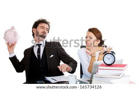 Closeup portrait of young upset couple, handsome man about to throw away piggy bank, beautiful stressed woman, having dispute over family budget, isolated on white background. Financial difficulties  - stock photo