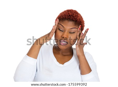 Closeup portrait of young upset woman thinking deeply about something hands on head, having headache, looking stressed isolated on white background. Negative human facial expression, emotion, reaction - stock photo