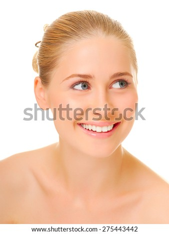 Closeup portrait of young woman isolated - stock photo