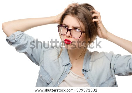 Closeup portrait of young woman scratching head. Thinking cogitative woman  - stock photo