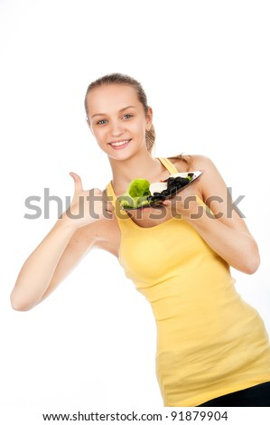 closeup portrait of young woman with plate of vegetable salad, girl with plate of greek salad, caucasian beauty  with vegetarian salad, on white background, studio shot
