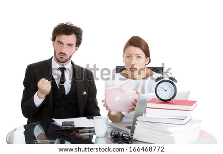 Closeup portrait of young, worried, angry couple, man, beautiful woman, looking distressed from financial problems, mounting bills, isolated on white background. Bad financial decision. Bank mistake
