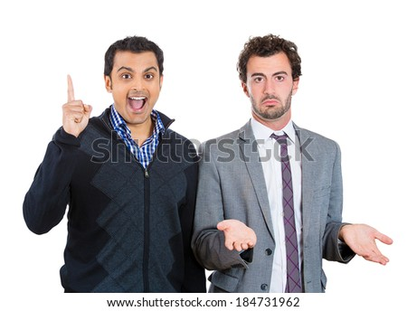 Closeup portrait people, excited, optimistic guy having solution, and bored, annoyed clueless man, isolated white background. Human emotions, expressions, feelings. Bipolar disorder concept - stock photo