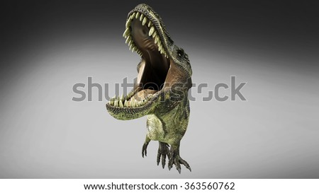 closeup portrait realistic dinosaur Tyrannosaurus 3D render he growls opens widely mouth - stock photo