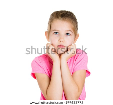 Closeup portrait sad, adorable, little girl wearing pink t-shirt looking thoughtfully up, thinking, daydreaming isolated white background. Human emotions, facial expressions, life perception, worries - stock photo