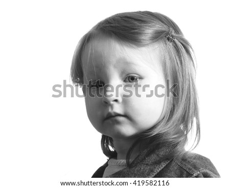 Closeup portrait sad depressed tired disappointed child resting face on hand looking down isolated grey wall background. Negative human emotion face expression feeling - stock photo