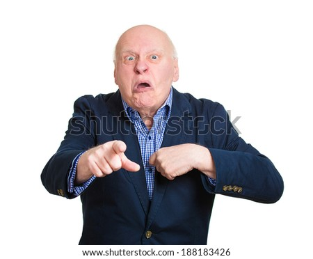 Closeup portrait, senior mature business man, pointing at you, pissed off, asking question you talking to, mean me? Isolated white background. Negative emotions, facial expressions, feelings, reaction - stock photo