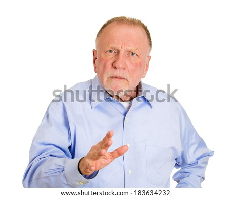 Closeup portrait, senior mature business man telling you to slow down, no stop right there, with hand in air, isolated white background. Negative human emotion, facial expression, feelings - stock photo