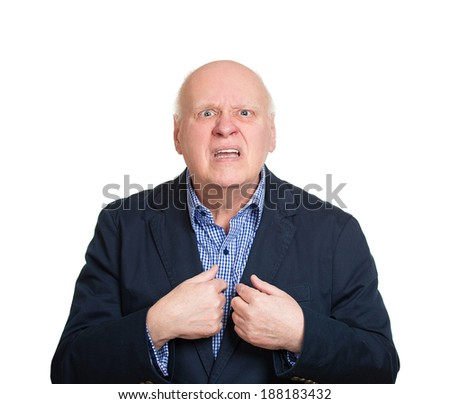 Closeup portrait, senior mature business man, unexpectedly, asking question you talking to, mean me? Isolated white background. Negative human emotions, facial expressions, feelings, reaction - stock photo