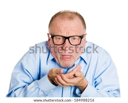 Closeup portrait senior mature nerdy, sick man in black glasses about to chuck, throw up, retch barf, hurl isolated white background. Negative human emotions, feelings, facial expressions.  - stock photo