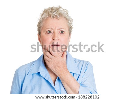 Closeup portrait, senior mature woman in deep, serious thought, daydreaming of problems, looking up, isolated white background. Negative human emotion facial expression feelings. - stock photo