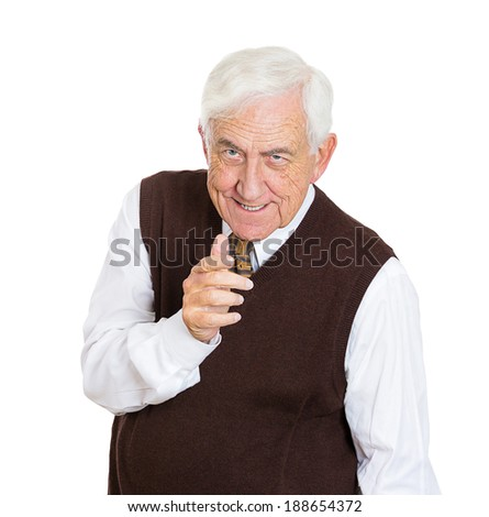 Closeup portrait, serious senior mature man, pointing at you with index finger hand sign gesture, isolated white background. Negative human emotion facial expression feelings, symbols - stock photo