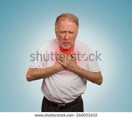 Closeup portrait sick old man, elderly guy, having severe infection, chest pain, looking miserable unwell, trying to catch his breath isolated on light blue background. Geriatric health care concept  - stock photo