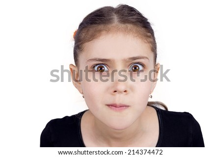 Closeup portrait skeptical young girl looking suspicious, disapproval, surprise on face isolated white background. Negative human emotion, facial expression feeling attitude, body language, perception - stock photo
