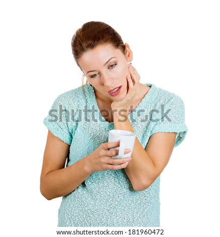 Closeup portrait sleepy young woman holding cup, about to crash, fall asleep eyes closed, looking bored, isolated white background. Negative human emotion, facial expressions, feelings, signs, symbols - stock photo