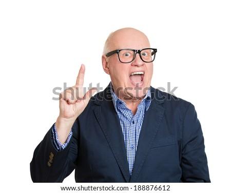 Closeup portrait, smart senior mature nerd man, black glasses, came up with an idea aha, isolated white background. Positive emotion facial expression feeling, attitude, perception, body language - stock photo