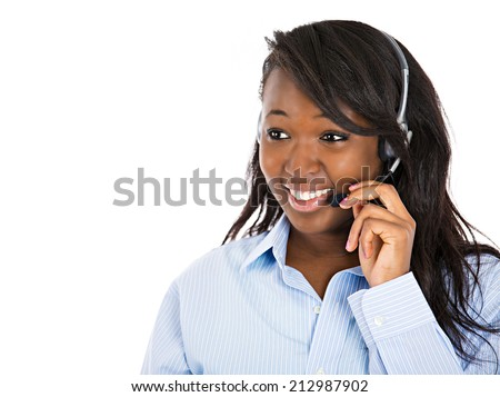 Closeup portrait smiling adorable female customer representative business woman with phone headset chatting on line with customer isolated white background. Positive human emotions, facial expressions - stock photo