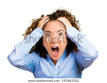 Closeup portrait stressed, frustrated shocked business woman, pulling hair out yelling screaming, temper tantrum isolated white background. Negative human emotion facial expression reaction attitude - stock photo