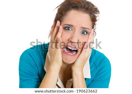 Closeup portrait stressed, upset, unhappy business woman, looking funny, overwhelmed, crying, screaming  isolated white background. Negative human emotions, facial expressions, reaction, attitude - stock photo