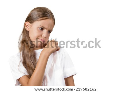 Closeup portrait teenager girl opening t-shirt to vent, its hot, blowing air, unpleasant, awkward situation embarrassment isolated white background. Negative human emotion facial expression feeling - stock photo
