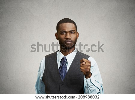 Closeup portrait unhappy Businessman giving thumb, finger Figa Gesture you are going to get zero Nothing isolated grey background. Negative emotions, facial expressions, feelings, body language, signs - stock photo