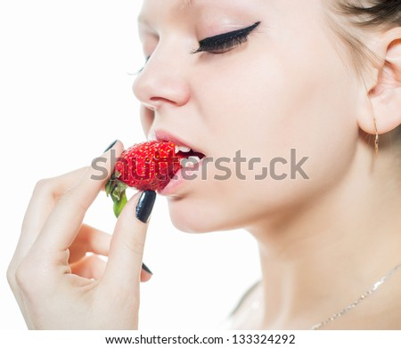 Closeup portrait with strawberry