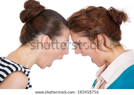 Closeup portrait young angry women, screaming at each other, blaming for problem, mistakes, isolated white background. Friendship difficulties concept negative emotion expression feeling - stock photo