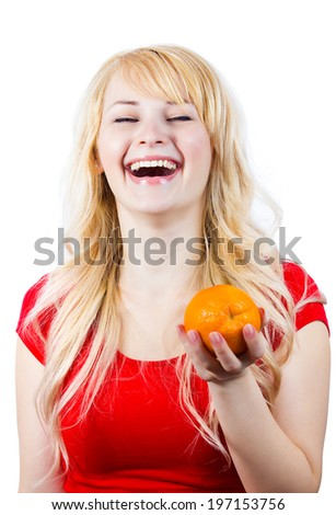 Closeup portrait young beautiful, laughing, healthy woman with orange, excited about new diet, isolated white background. Human facial expressions, emotions, life perception. Smart, good food choices - stock photo