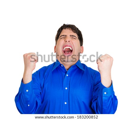 Closeup portrait young, excited, energetic, happy, smiling student, business man winning, arms, fist pumped, celebrating success, isolated white background. Positive human emotion, facial expression - stock photo