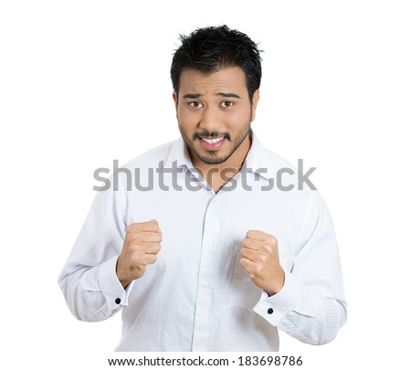 Closeup portrait young man, student hoping for best future, looking at you camera, full of expectation, something big about to change his life, anticipation, isolated white background. Face expression - stock photo