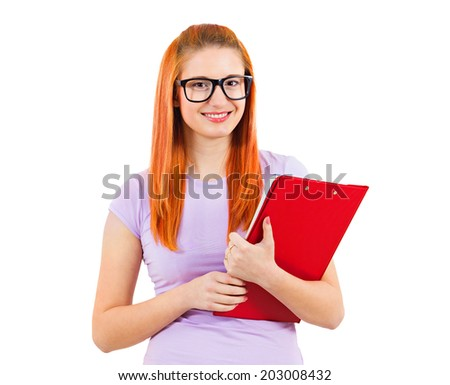 Closeup portrait young smart attractive, smart woman, with glasses, holding books, prepared, ready to take her test finals, isolated white background. Positive facial expressions, feelings, emotions - stock photo