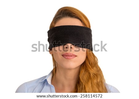 Closeup portrait young woman blindfolded isolated on white background  - stock photo