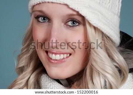 closeup potrait of a nice girl - stock photo