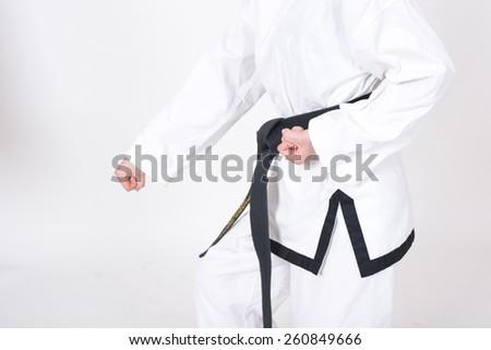 Closeup practice tae kwon do fist - stock photo