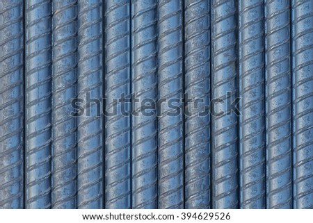 Closeup rebar steel used in construction concrete , Shooting for background or texture  - stock photo