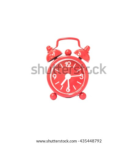 Closeup red alarm clock display seven hours and fifteen minutes on screen clock isolated on white background with clipping path - stock photo