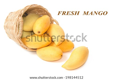 closeup ripe mangoes in basket - stock photo