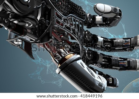 Closeup robotic arm mechanism. Futuristic background and design elements.3d rendered image. - stock photo