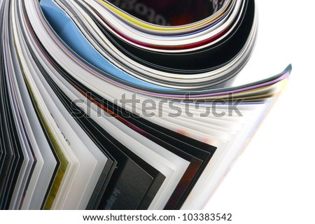 closeup roll of magazine - stock photo