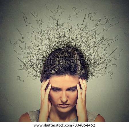 Closeup sad young woman with worried stressed face expression and brain melting into lines question marks. Obsessive compulsive, adhd, anxiety disorders  - stock photo