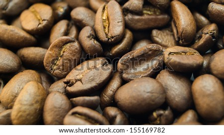 closeup scatter of coffee beans