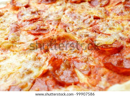 Closeup shoot of salami italian pizza.