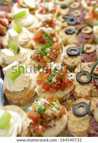 Closeup shot of a fresh canapes on party platter. Catering concept  - stock photo