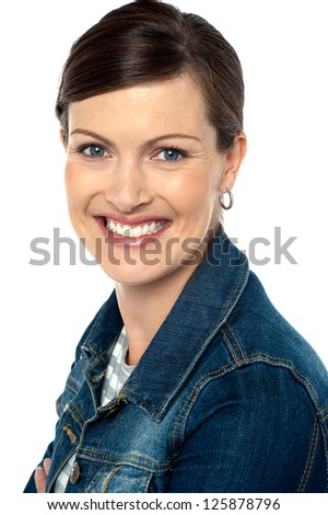 Closeup shot of an attractive trendy young woman flashing a smile on white background. - stock photo