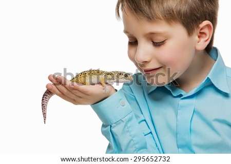 Closeup shot of boy holding pet lizard on his hand. Isolated over white background. - stock photo