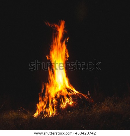 Closeup shot of camp fire and burning coal