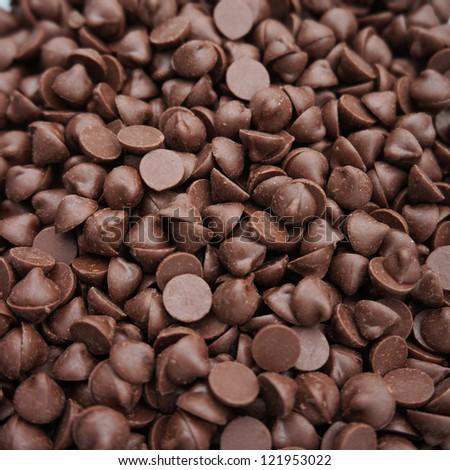 Closeup shot of chocolate chips. - stock photo