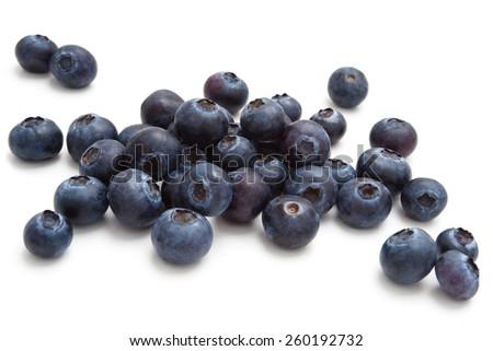 Closeup shot  of  fresh blueberries. Isolated on white background. - stock photo