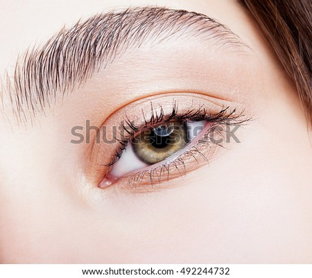 Closeup shot of hazel female eye makeup