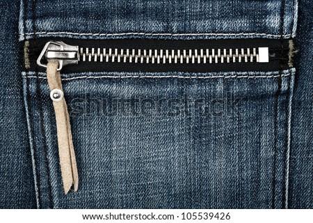 Closeup shot of jeans zipper - stock photo